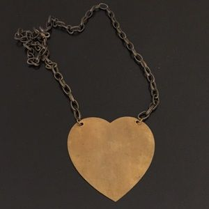 Whimsical Oversized Brass Heart Pendant Necklace