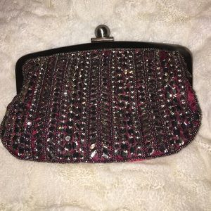 NWT Gorgeous Red and silver clutch