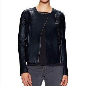 Maje Collarless Leather Motorcycle Jacket SZ. S