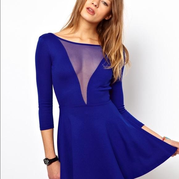 5402c5c42b American Apparel Dresses   Skirts - Blue v neck mesh dress