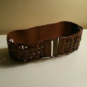 Brown woven and stretch belt