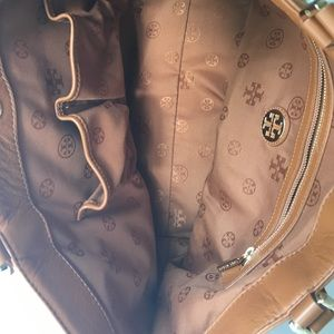 Tory Burch Bags - Tory Burch Cognac Logo Holly East West Tote