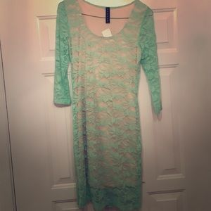 Dresses & Skirts - Lace dress, mint green, never worn!