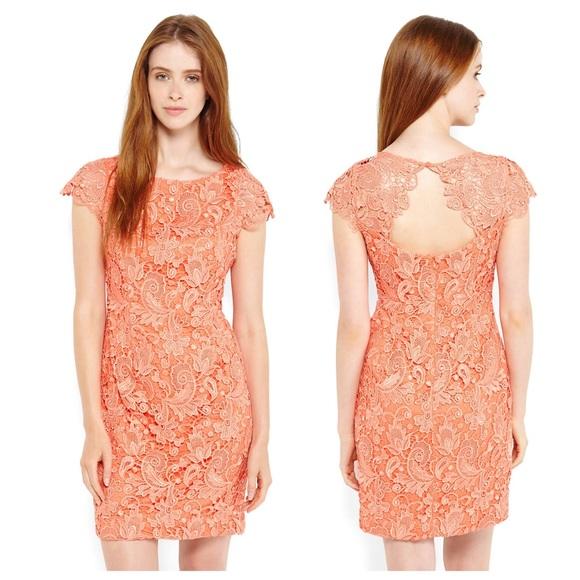 Vince Camuto Orange Lace Shift Dress