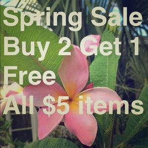 All $5 items Buy 2 Get 1 Free for a limited time