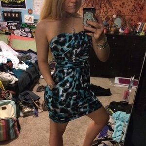Aqua Blue Cheetah Dress