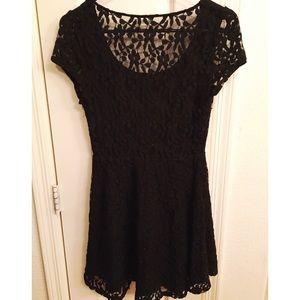 Black Lace Floral Print Dress
