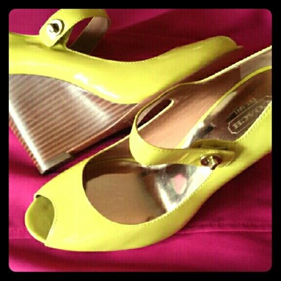 ed918ec7e3 Coach Shoes | Yellow Lemon Summer Peep Toe Sandals Wedges | Poshmark