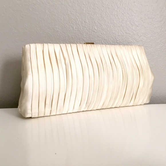 85% Off J. Crew Handbags - J. Crew Ivory Satin Pleated Clutch Bag From U2022 Kendra Leighu0026#39;s Closet ...