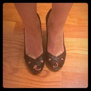 Shoes - Zara Dark Brown Peep Toes