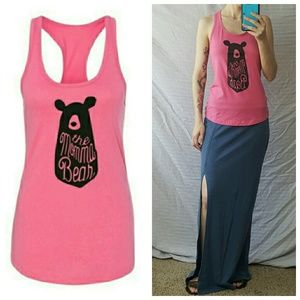 Salt Lake Clothing Tops - Momma Bear Pink Racerback Tank