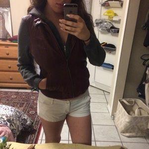 Double zippered hooded jacket