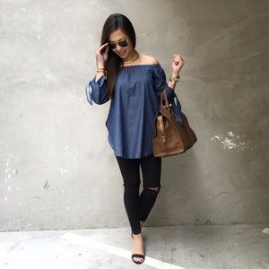 Denim Chambray Off the Shoulder Tunic Top