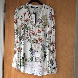 NWT Zara Floral Print Blouse