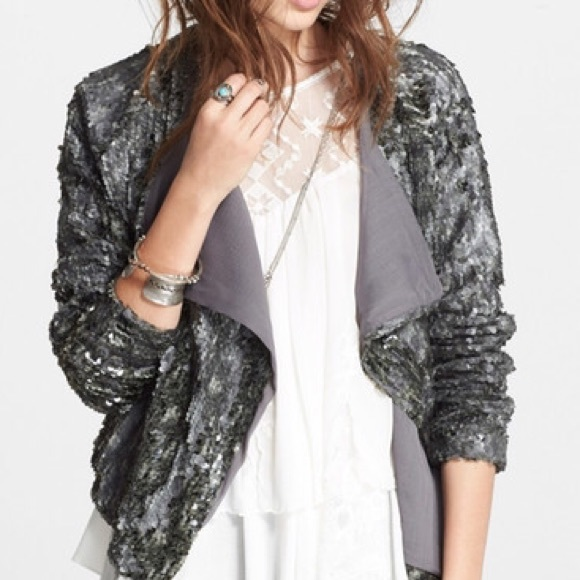 88% off Free People Jackets & Blazers - New! Free people silver ...