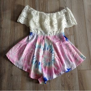 Dresses & Skirts - nwt lace and tye dye romper small