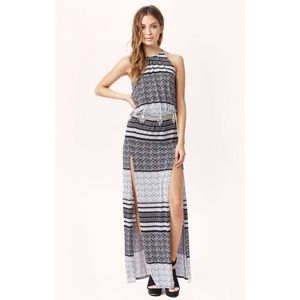 Blue Life Dresses & Skirts - Blue Life 2 Slit Halter Maxi Dress Aztec Stripe