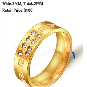 QWXM Other - Brand 🆕 Men's 8MM Gold Stainless Steel Band Ring