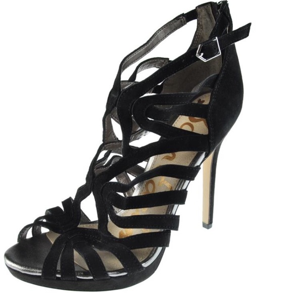 8be2253ffbbd Sam Edelman Eve Black Suede Strappy Sandals Heels