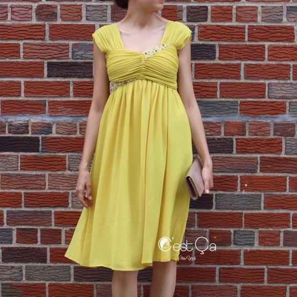 e2f3f1a28d7b C'est Ca New York Dresses | Nwt Ashley Yellow Empire Waist Maternity ...