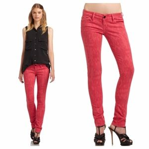 Black Orchid Denim - Black Orchid Red Jewel Ikat Print Skinny Jeans