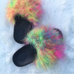 11 Off Nike Shoes Multi Color Faux Fur Nike Slides From