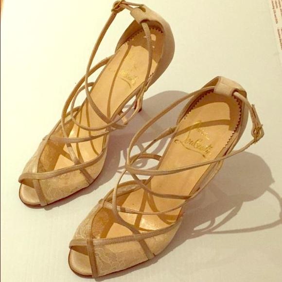 54e24909d2e Christian Louboutin champagne color heels.