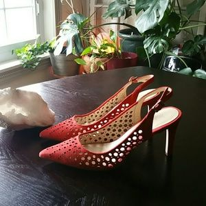 Calvin Klein Genuine Suede Red Heels size 10