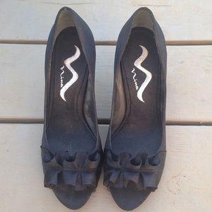 Nina Shoes - Black open toe high heels