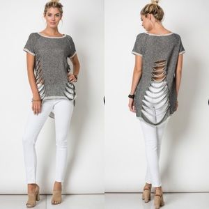 Tops - Raglan Cut Top CHARCOAL