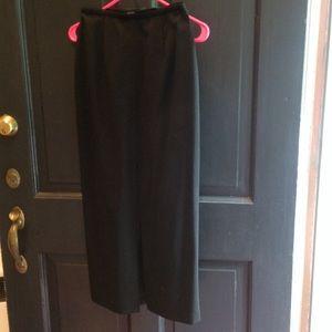 Ann Taylor Long Black Front Slit Pencil Skirt 2P