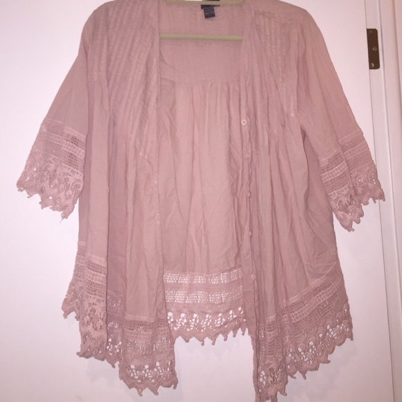 71% off Sweaters - Light pink lace embroidered cardigan w/ buttons ...