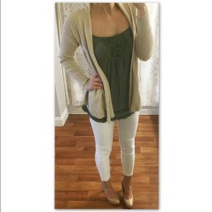Cream Beige Cardigan Sweater