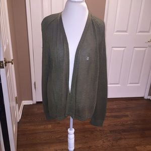 NWT Loft Olive Green Mesh Cardigan Size XL