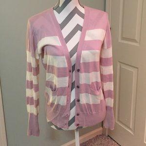 ⭐️ LOFT - Pink & White Striped Cardigan - S ⭐️