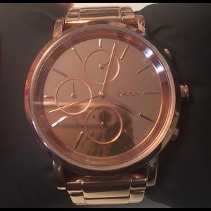 DKNY rose gold watch.