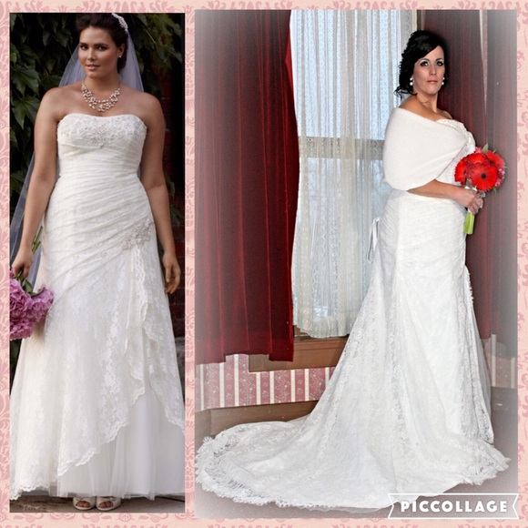 David\'s Bridal Dresses | Lace Aline Side Split Plus Size Wedding ...