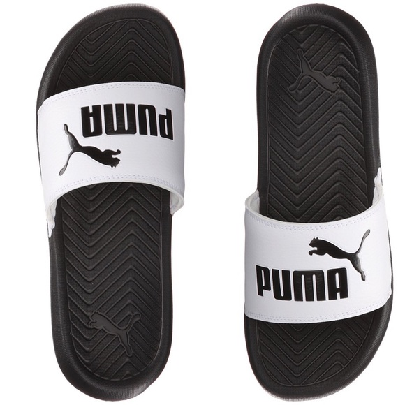 ✨NEW puma popcat black & white slides✨