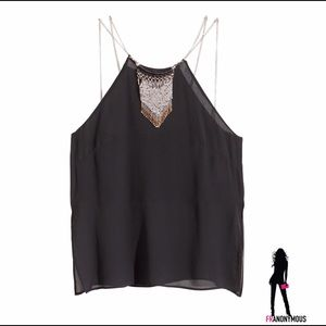 H&M Tops - Crinkled Chiffon Black Camisole Top w/Necklace