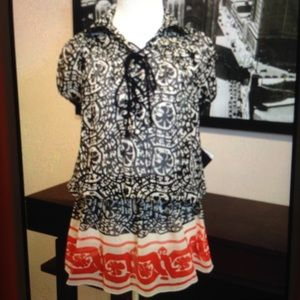 Anna Sui silk dress black white red print NEW Med