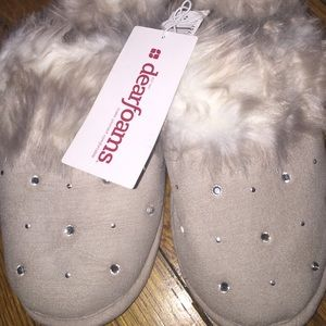 Dearfoams pewter rhinestone & fur indoor/ outdoor
