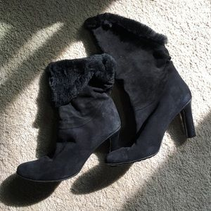 Bruno Bordese rabbit fur lined suede boots!!