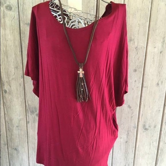 3682d91c4c4 Burgundy piko top plus size
