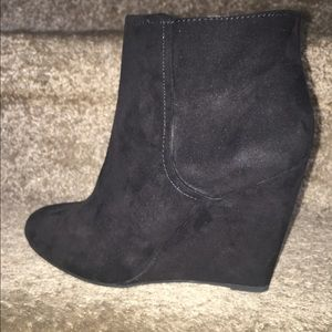 Forever 21 Black Suede Wedge Booties