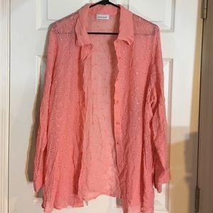 Pale peach blush blouse
