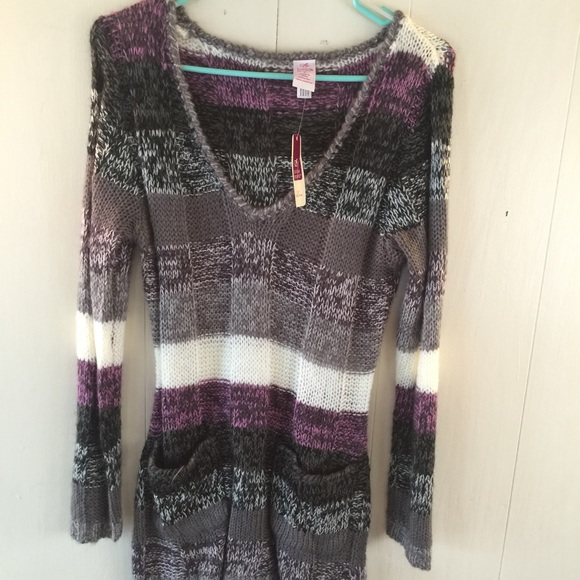 60% off Sweaters - Purple , grey and white striped sweater from ...