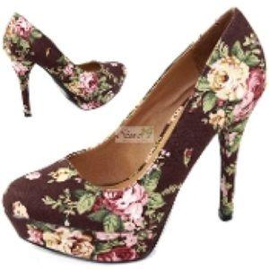 Qupid Shoes - Qupid Floral Platform Pump