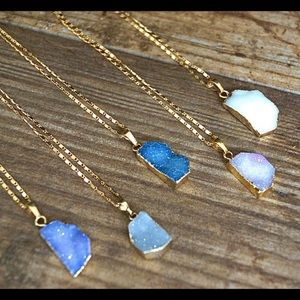 Druzy pendant gold necklaces