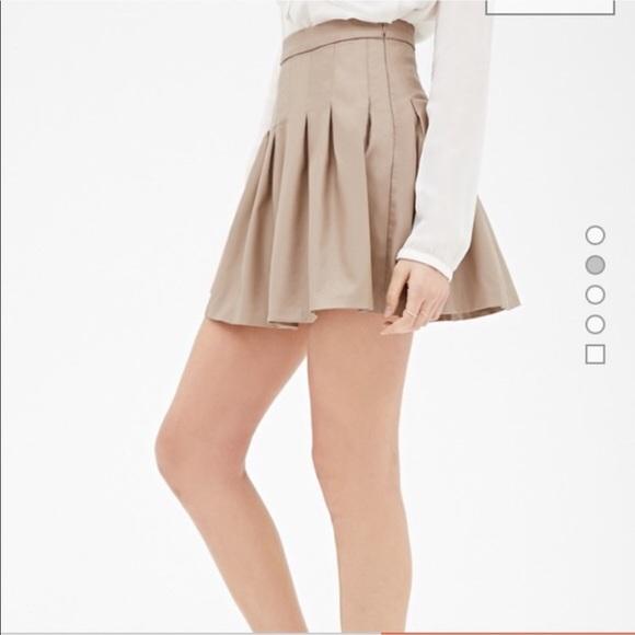 7239834068 Forever 21 Skirts   Tan Pleated Skater Skirt   Poshmark