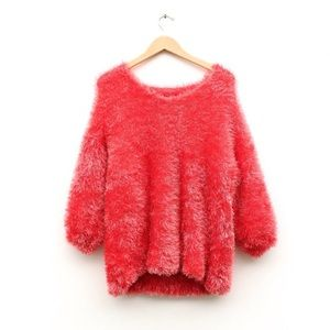 Sweaters - 90s or 2000s Fuzzy Bold Oversized Width Sweater